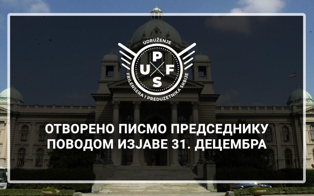 Otvoreno pismo Predsedniku povodom izjave 31. decembra